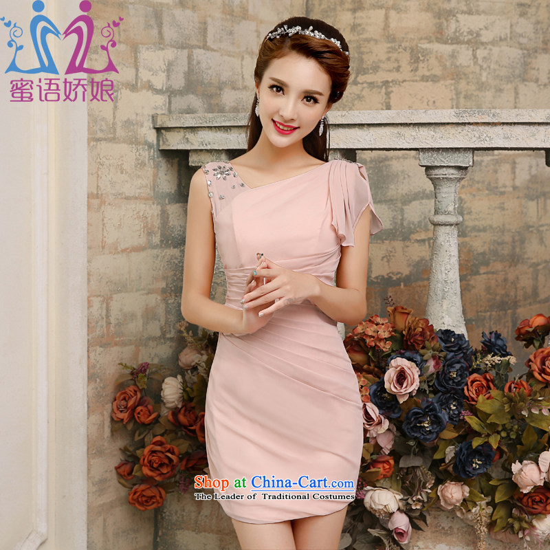 Talk to her new small dress bridesmaid to bare pink marriages bows service, a field under the auspices of the Korean version of the shoulders, serving girls bare pink?M