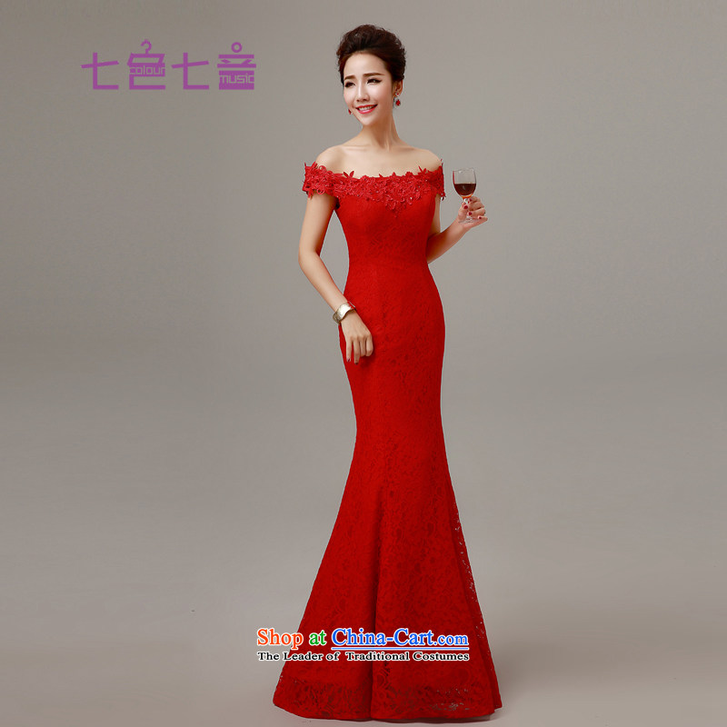 7 7 color tone?2015 new red married women serving the word bows shoulder lace Sau San crowsfoot tail stylish wedding dress?L017?red alignment to?M