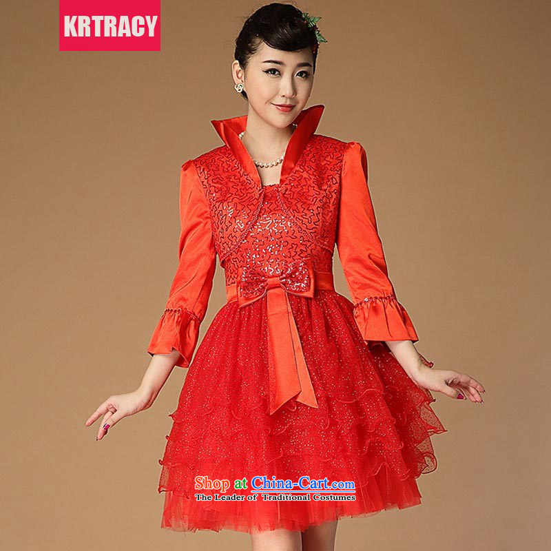 Load New KRTRACY2015 autumn retro China wind red bows Service Bridal Services evening dress small dress BLLS1009 RED?M