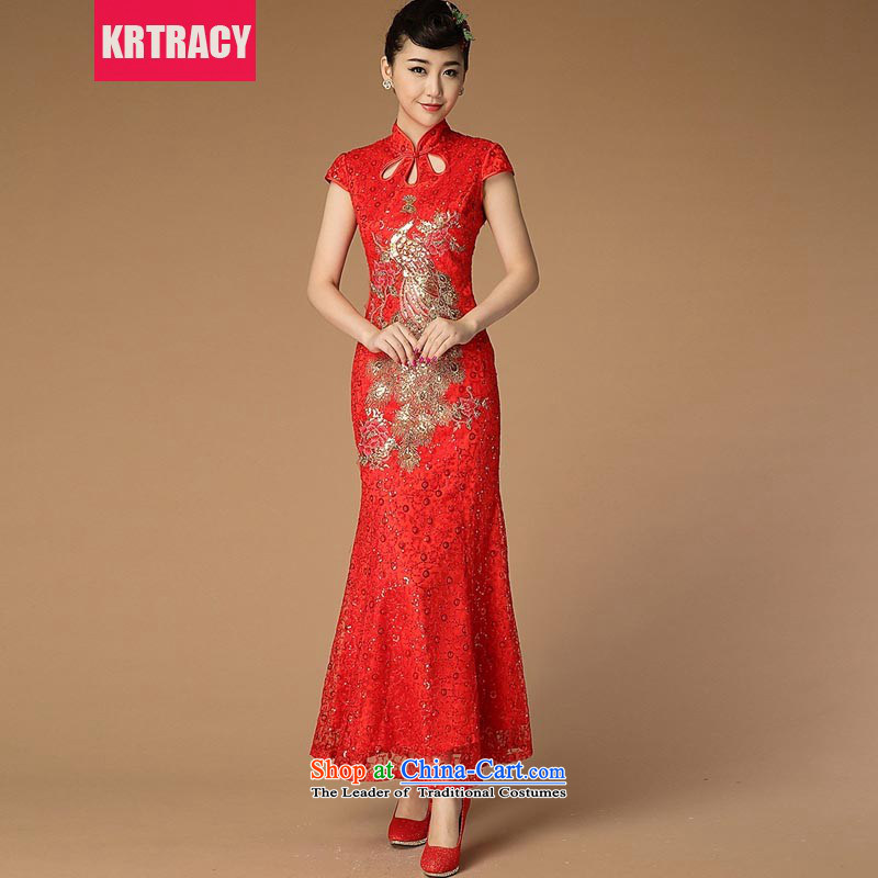 The new national wind KRTRACY2015 heavy industry engraving Lace Embroidery qipao Bridal Services toasting champagne Sau San serving evening dresses BLLS3399 RED�L