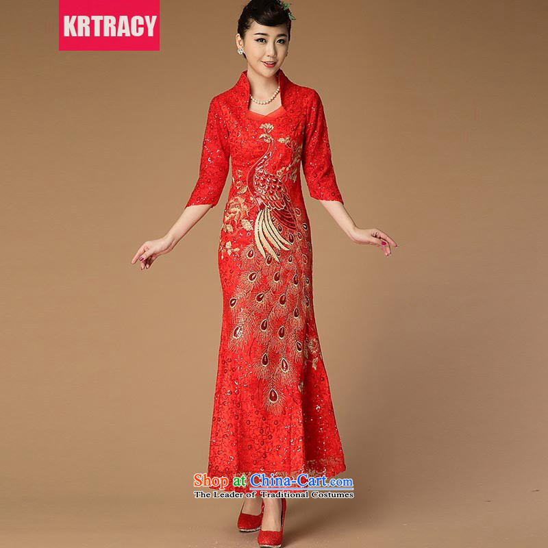 The new national wind KRTRACY2015 heavy industry engraving Lace Embroidery cheongsam red bows to Sau San evening dresses BLLS9488 RED?S