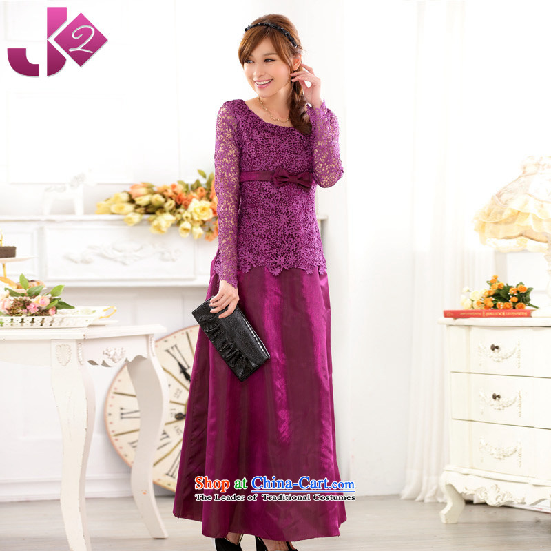 ?The auspices of the Western Wind performances Jk2.yy evening dress skirt long-sleeved lace engraving large yards (Sapa meeting dress dresses purple are about 95 recommendations code