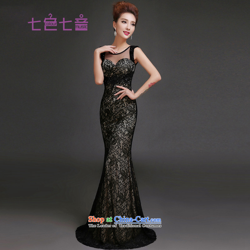 7 Color 7 Ms. evening dresses new 2015 Long Moderator Clothing Company Annual Meeting of the Korean version of Sau San banquet style?L018 gathering?black?L