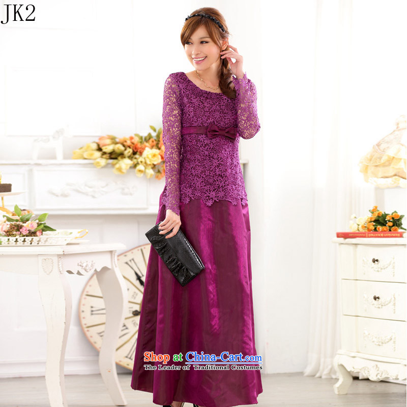 Western Wind hosted a long-sleeved skirt lace engraving large yards _dress JK2 9722 purple聽XXL