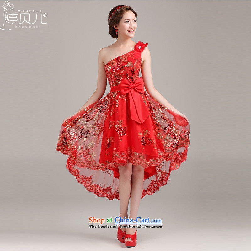 After a short pre-gown 2015 new bridesmaid to lace short of marriages bows to red evening wedding red?S