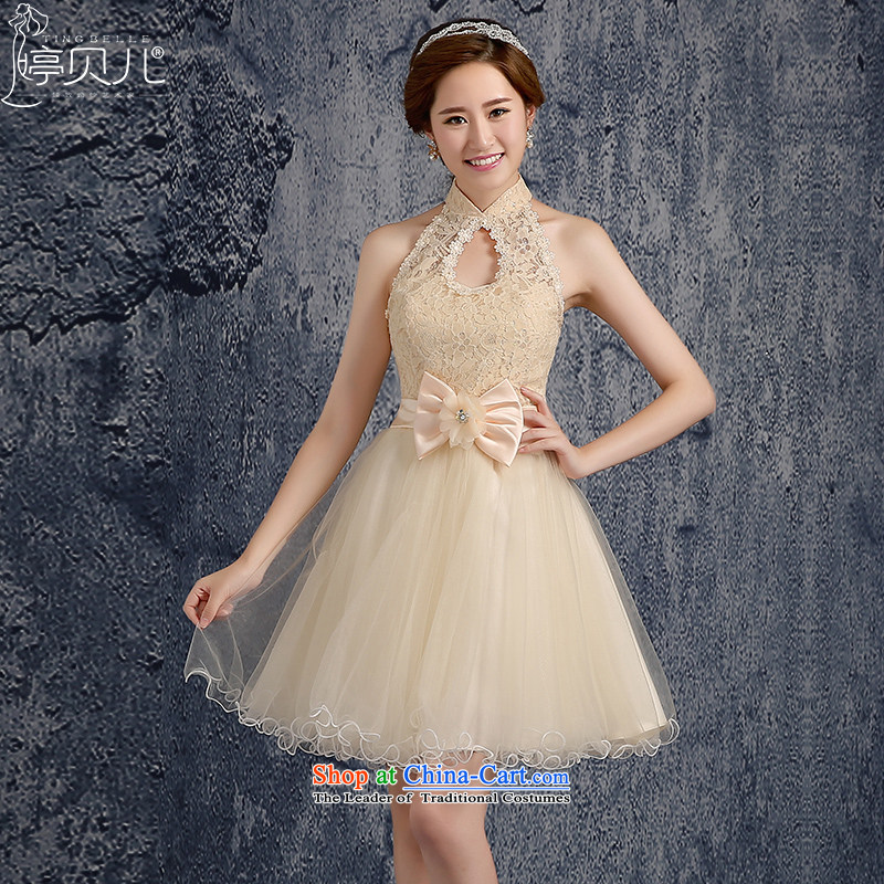 Beverly Ting 2015 new spring and summer champagne color bridesmaid fall short of mission dress sister skirt bridesmaid services moderator evening dresses female champagne color聽M