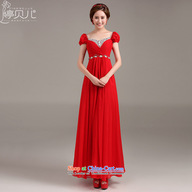 Beverly Ting pregnant women dress in spring and summer 2015 New Service Korean drink red Top Loin of marriages shoulders diamond long evening dresses red�S
