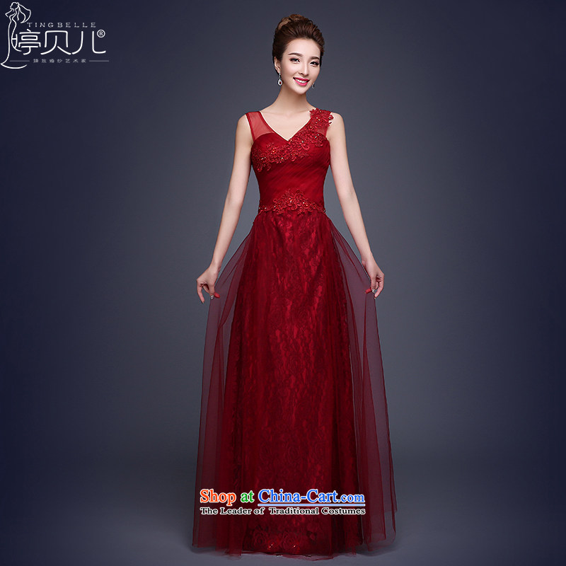Beverly Ting bows to Sau San New 2015 new spring and summer evening dresses long red marriages stylish bridesmaid services moderator dress dark red聽XXL