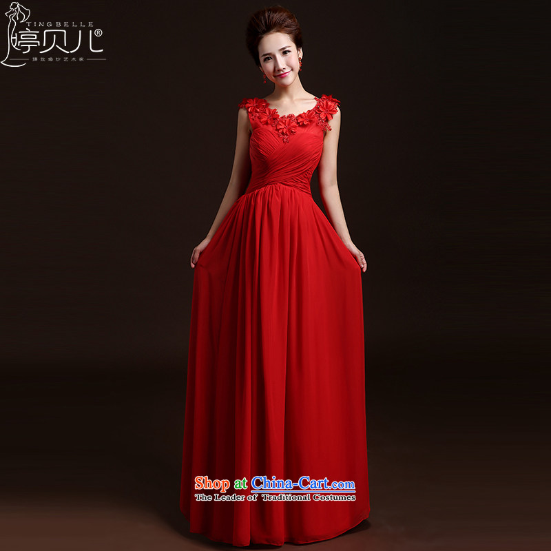 Beverly Ting 2015 new spring and summer wedding dresses new marriages evening dresses stylish shoulders Sau San bows service long bridesmaid services red聽XXL