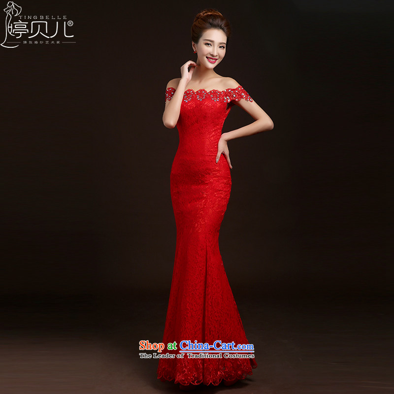 Beverly Ting bows Service Bridal Fashion New 2015 new spring and summer Korean Red Dress long word   crowsfoot shoulder wedding dress red S