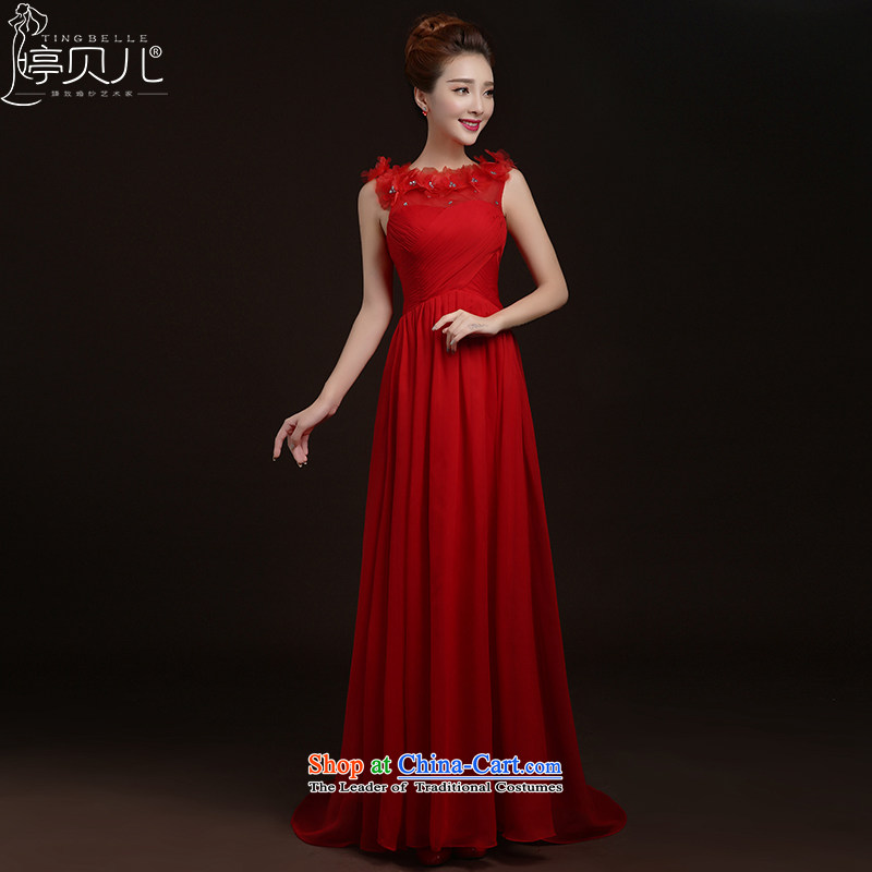 Beverly Ting 2015 new spring and summer red married women serving drink shoulders lace anointed chest tail Sau San stylish dress evening dresses red聽XL