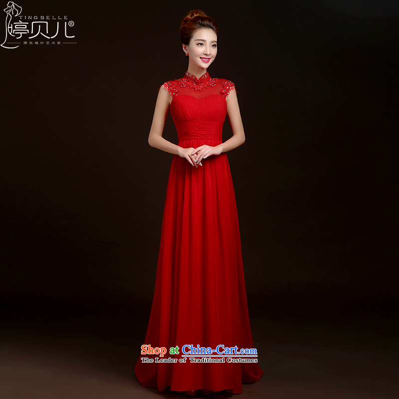 Beverly Ting bows Service Bridal Fashion 2015 new spring and summer long gown marriage strap bridesmaid to Korean Red Dress Female Red banquet?M