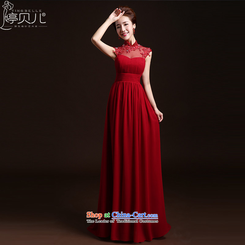 Beverly Ting pregnant women high waist dress in spring and summer 2015 new marriages stylish bows services red lace long evening dress Sau San deep red�L