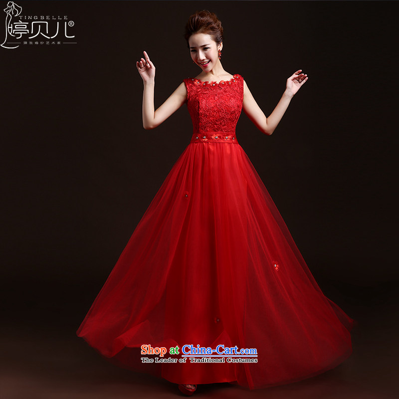 Beverly Ting bows Service Bridal Fashion New Spring_Summer 2015 Red long lace bride wedding dress autumn and winter banquet evening dress red聽XXL