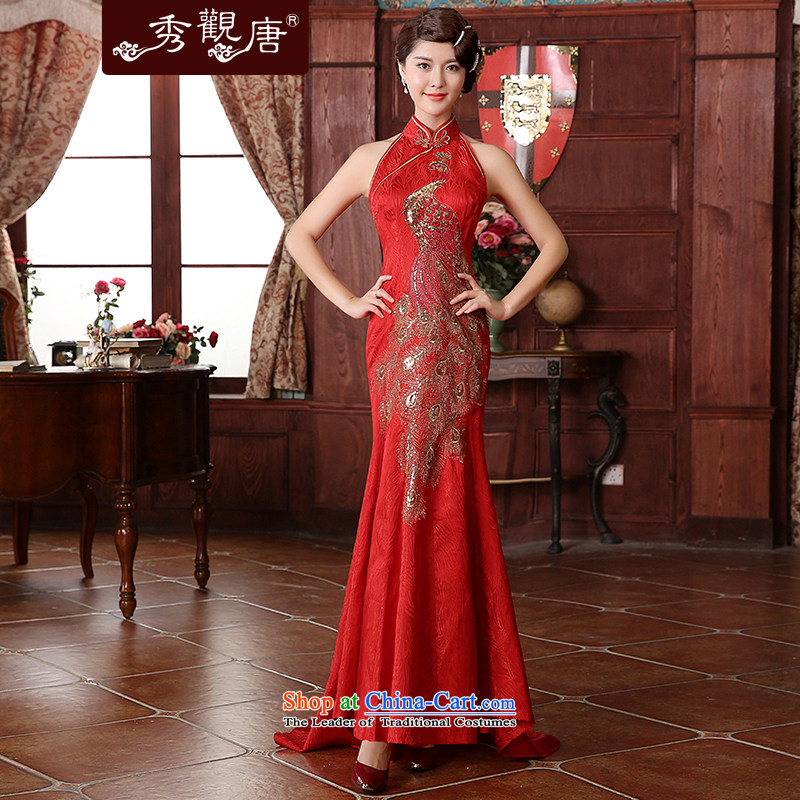 [Sau Kwun Tong] Bong-love for winter�2015 marriage celebration for the bride dress back door bows two kits QX4939 RED�L