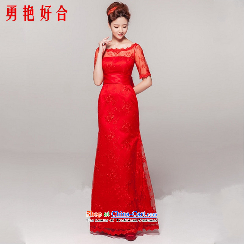 Yong-yeon and new Word 2015 shoulder red video thin new Korean dress lace bridal dresses bows services red?L