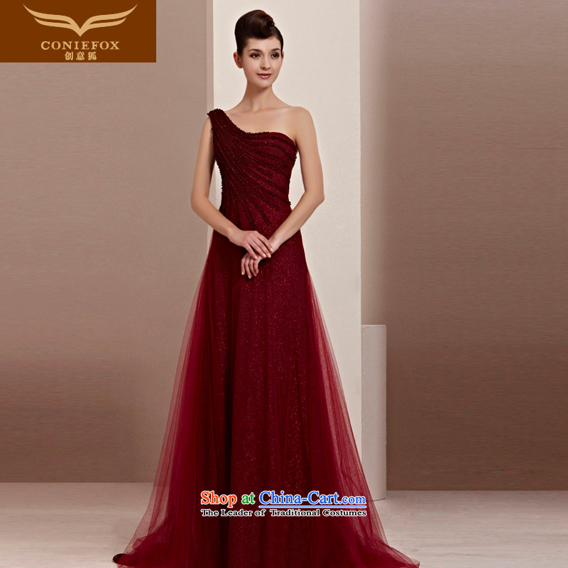 Creative Fox evening dress video thin red dress shoulder bride wedding dresses wedding dress bows service long tail dress welcome service 30111 wine red S