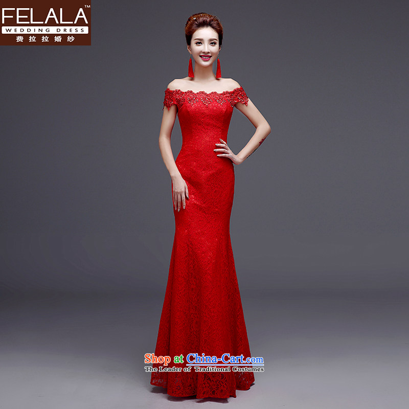 Ferrara bridal dresses word shoulder red wedding dresses multimedia drill lace crowsfoot dress bride dress cheongsam dress winter_聽S聽Suzhou Shipment