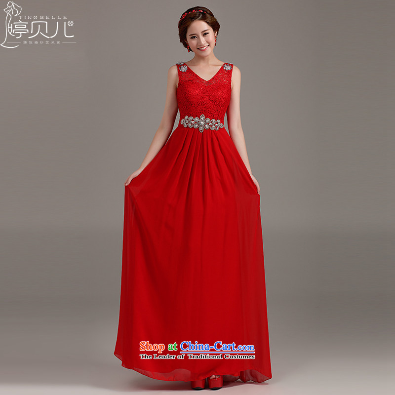 Beverly Ting bows Service Bridal Fashion 2015 new marriage evening dress autumn and winter bride red double-shoulder length of lace bridesmaid RED聽M