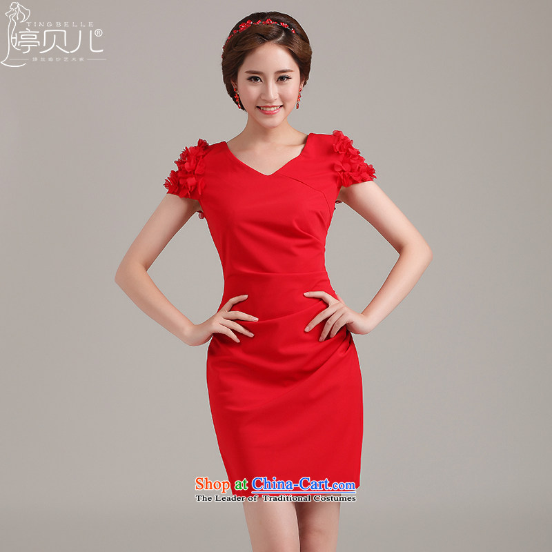 Beverly Ting wedding dresses bridesmaid dress in spring and summer 2015 New Red Dress lace short of marriages bows services red聽XL