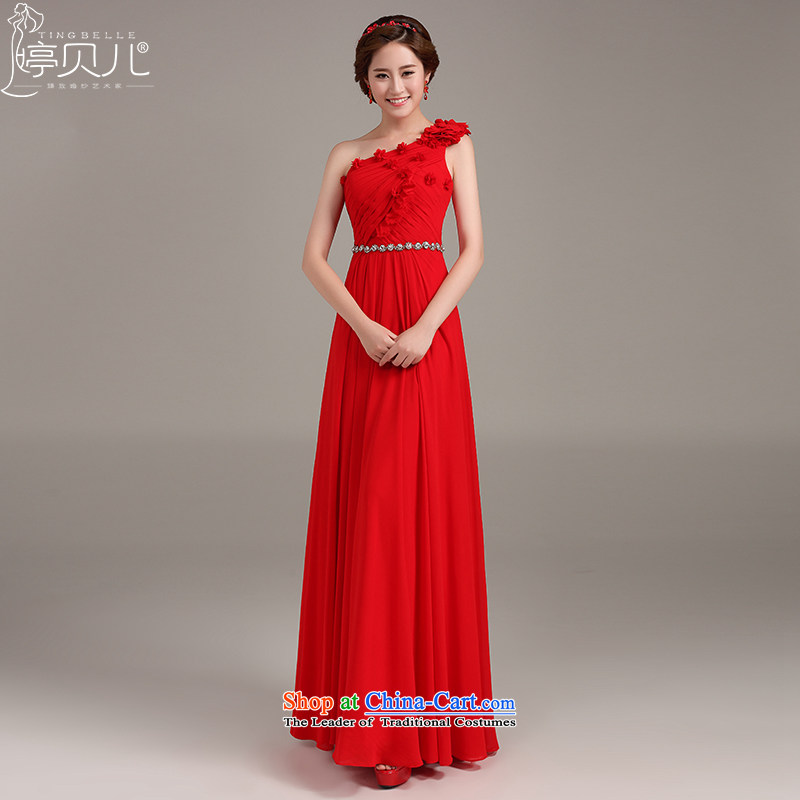 Beverly Ting bows Service Bridal Fashion 2015 New Red single shoulder evening dresses long toastmaster banquet autumn skirt red?L