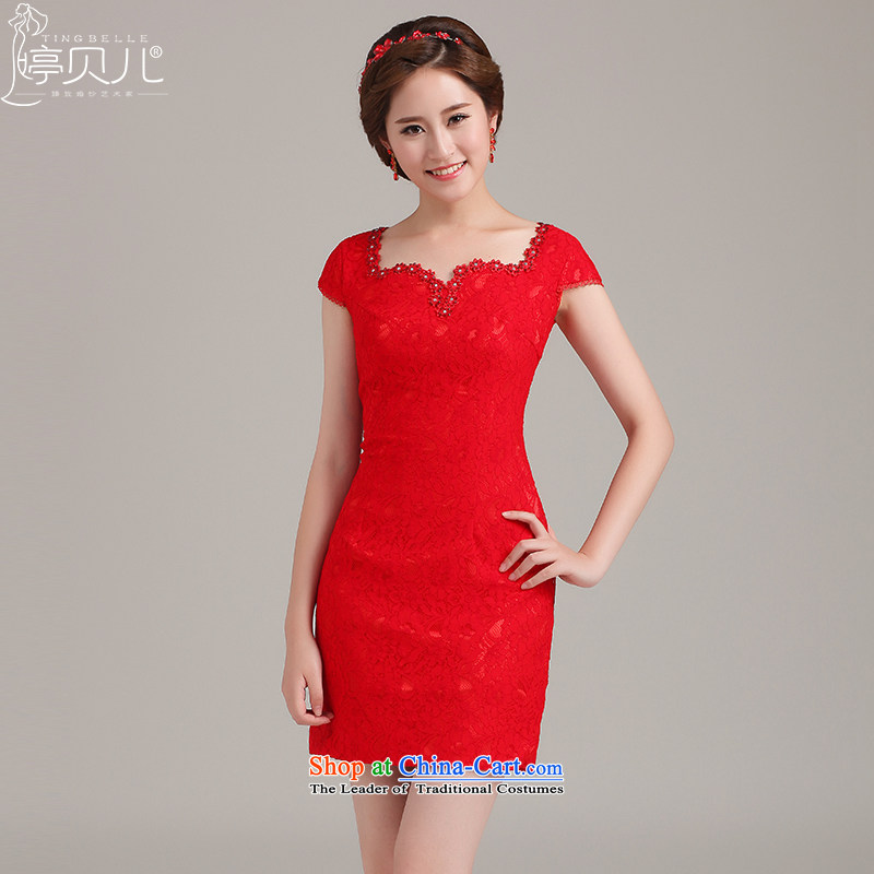 Beverly Ting 2015 new spring and summer wedding red lace cheongsam dress short of bride bows stylish improved Short Sleeve V-Neck package shoulder red聽XXL