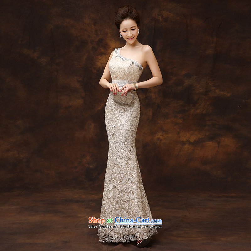 According to Lin Sha original shoulder crowsfoot lace evening dress long marriages bows service long Sau San host a gala dinner dress S