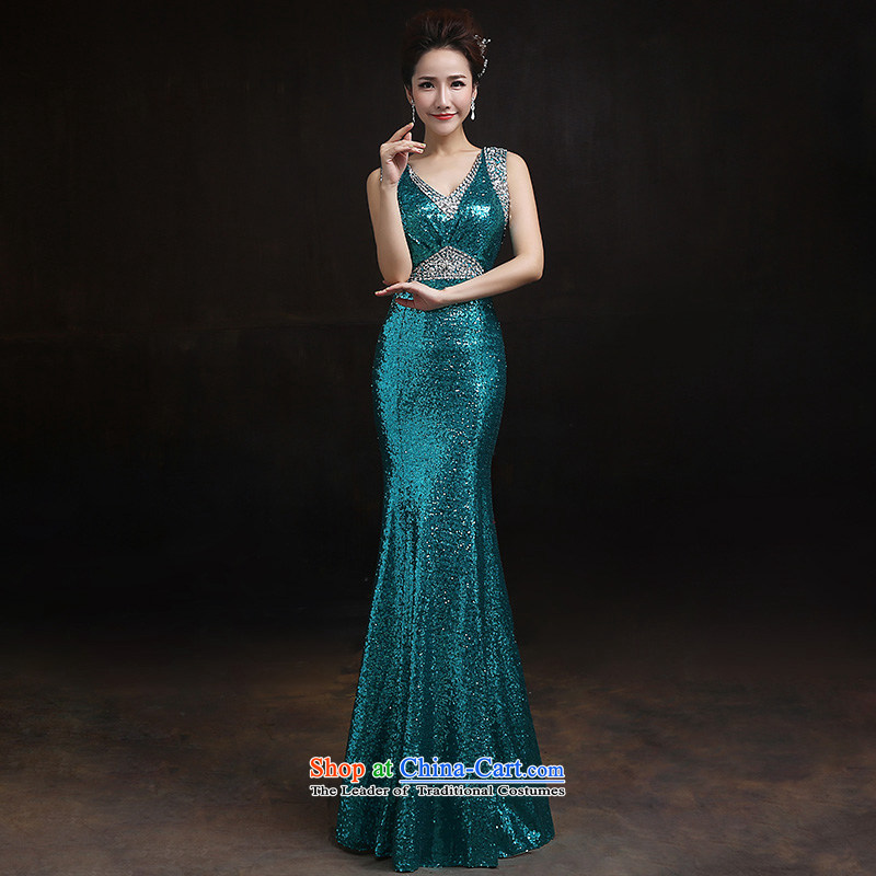 According to Lin Sha shoulders crowsfoot aluminum foil lace evening dress bride bows services long crowsfoot Sau San performance services under the auspices of M