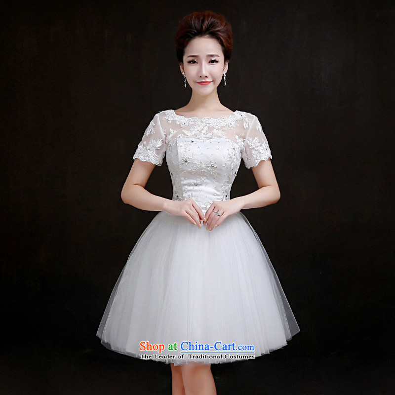 In accordance with the Korean version of Mona Lisa Lam bridesmaid services small white dress shoulders short, wedding female 2015 new evening dress bon bon skirt�M