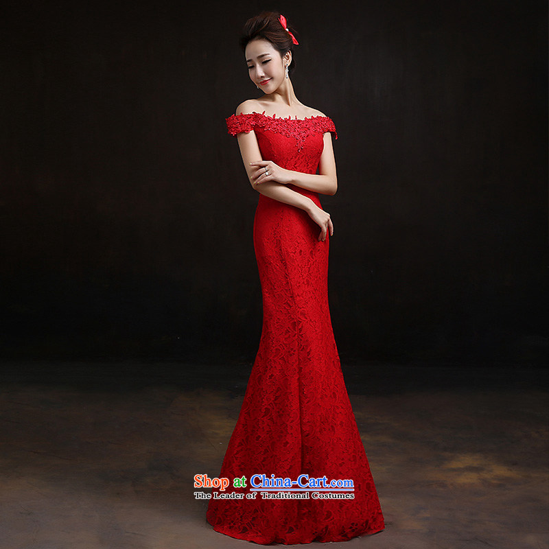 According to Lin Sha 2015 New Red slotted shoulder crowsfoot dress marriages bows to lace bride with聽XS Sau San
