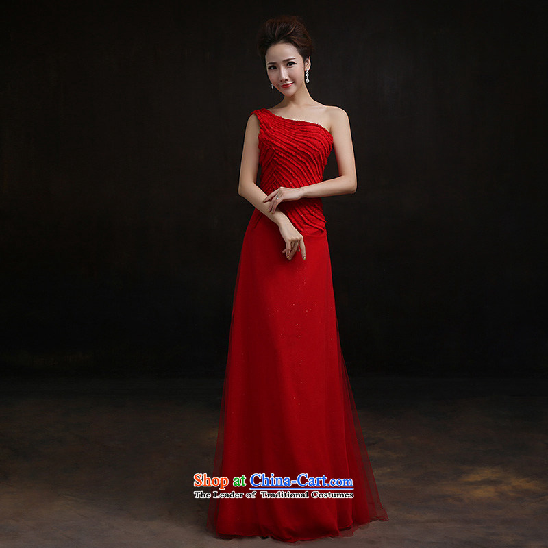 According to Lin Sha 2015 new shoulder evening dresses red bride wedding dress bows services under the auspices of long serving long?M