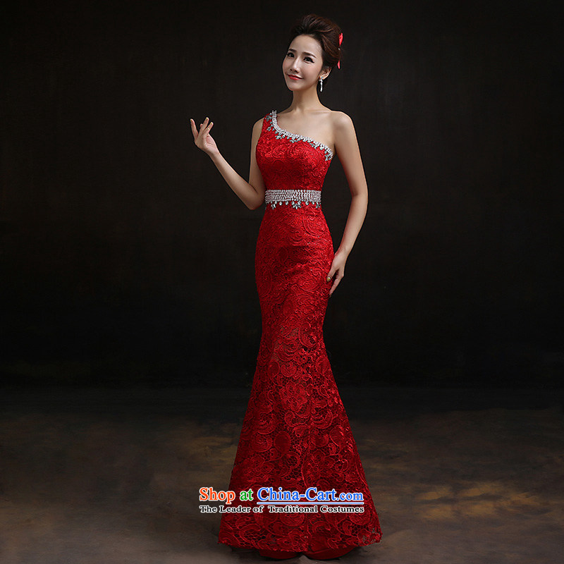According to Lin Sha shoulder crowsfoot lace evening dress new marriages bows service long crowsfoot Sau San long S