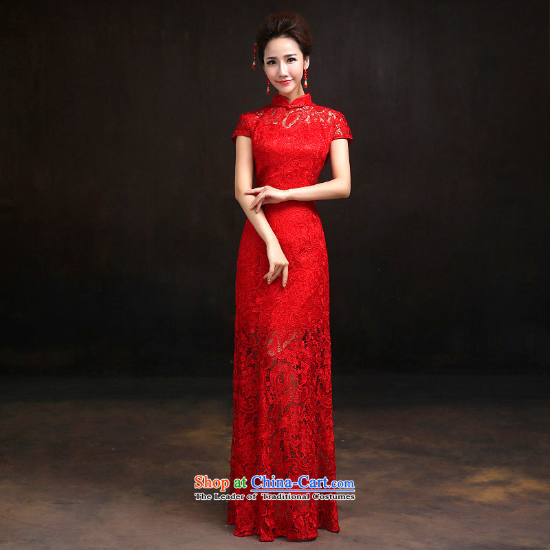 According to Lin Sha red lace bridal cheongsam dress stylish wedding services improved crowsfoot toasting champagne evening dresses 2015 NEW S