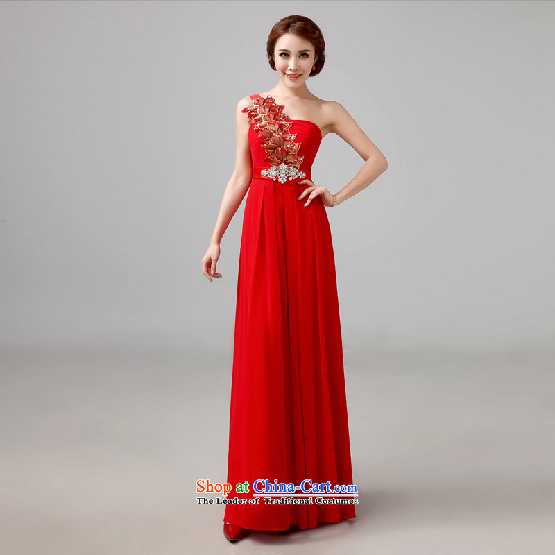 The bride red bows services 2015 new long evening dresses and stylish wedding shoulder marriages bows services?XS