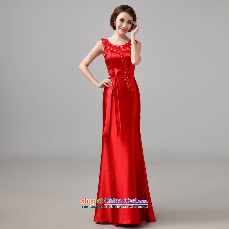 The new 2015 Autumn wedding dresses bows Service Bridal Fashion Red Dress married long wedding bridesmaid?S
