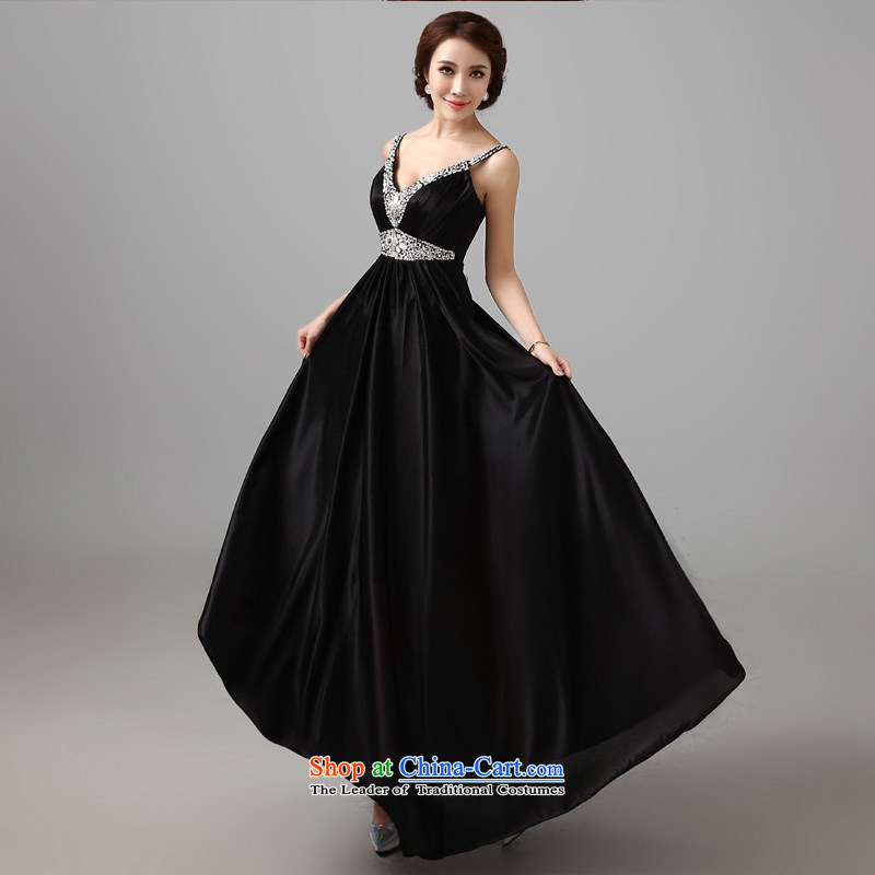 According to Lin Sha 2015 new diamond black dress and sexy V-Neck shoulders banquet service annual concert dress evening dresses tailored consulting customer service