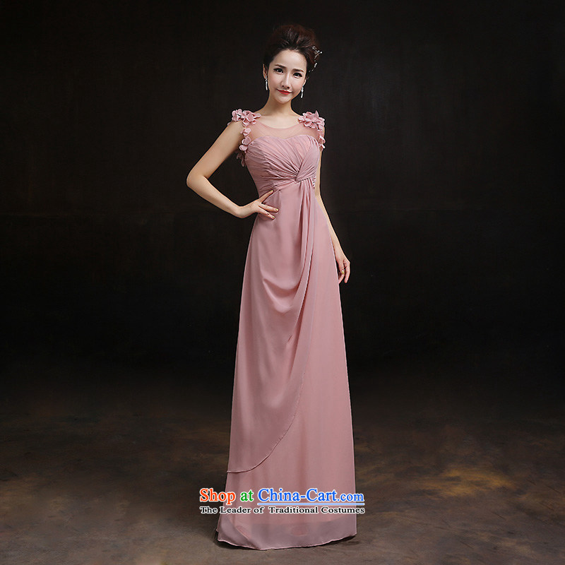 According to Lin Sha bridesmaid to spring 2015 new long evening dresses bridesmaid skirt bride wedding banquet evening shoulders bridesmaid mission?E?L