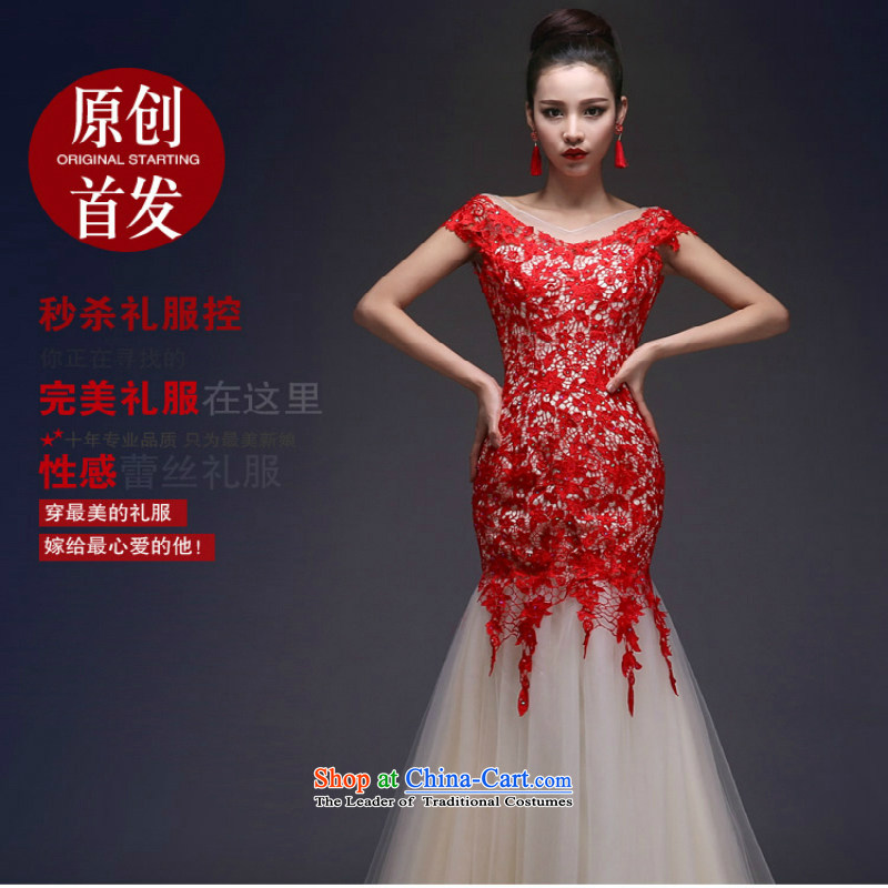 Shared Keun guijin marriage bows services wedding dresses new bride 2014 shoulders crowsfoot Sau San lace long strap evening dress shoulders_聽S code from Suzhou Shipment