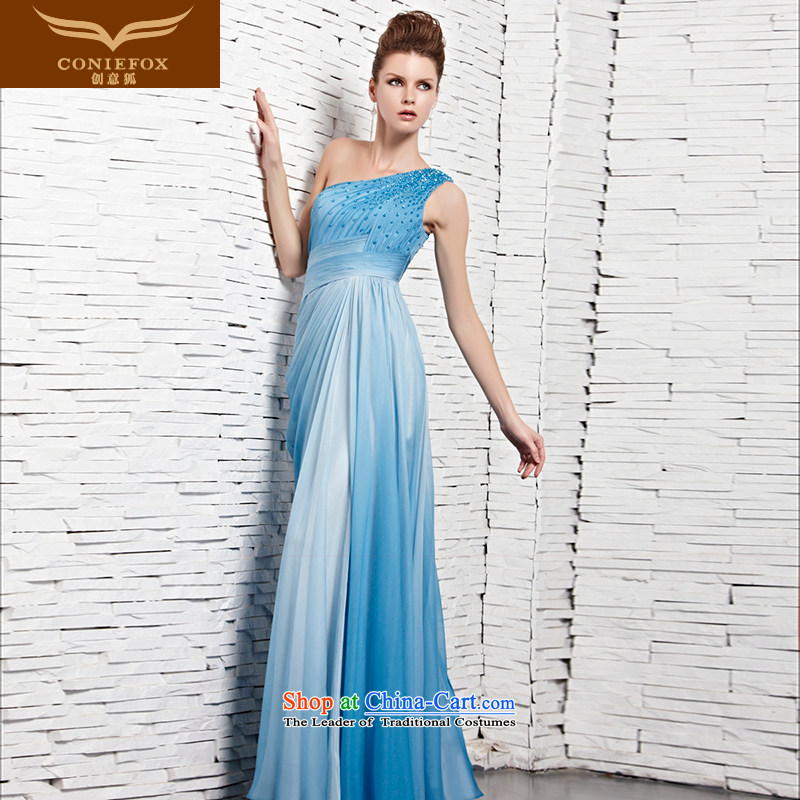 The kitsune elegant evening dress creative long blue shoulder dress noble under the auspices of Sau San will dress Diamond Ballroom bridesmaid dress long skirt 81121 blue?XL