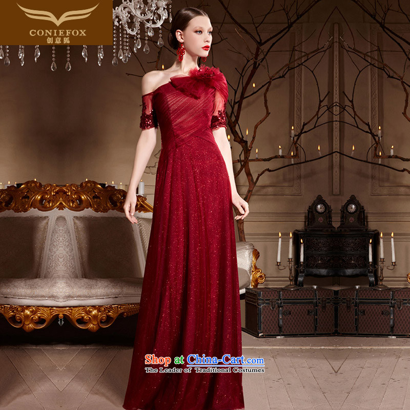 Creative Fox evening dresses bows Services Red Dress 2015 new bride long to Sau San shoulder elegant evening dress long skirt 30632 wine red M