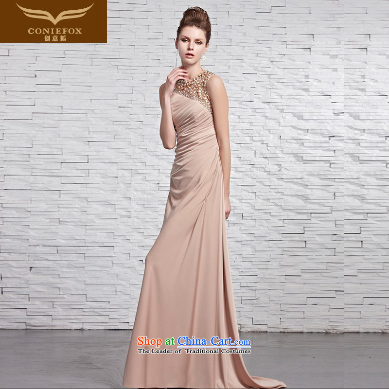 Creative Fox evening dress stylish shoulders banquet evening dresses sit back and relax long gown bride bridesmaid chaired dress Foutune of tail dress 81359 color picture?XL