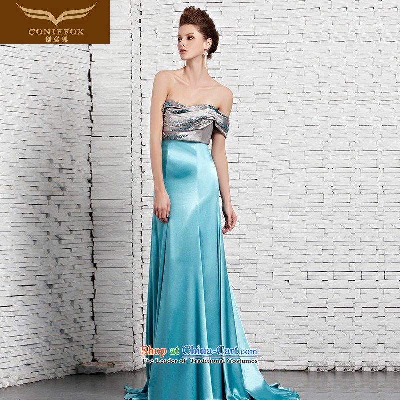 Creative Fox evening dresses and sexy anointed chest blue banquet hosted performances evening dress dress long skirt long tail dress show red carpet dress?81365?color picture?M