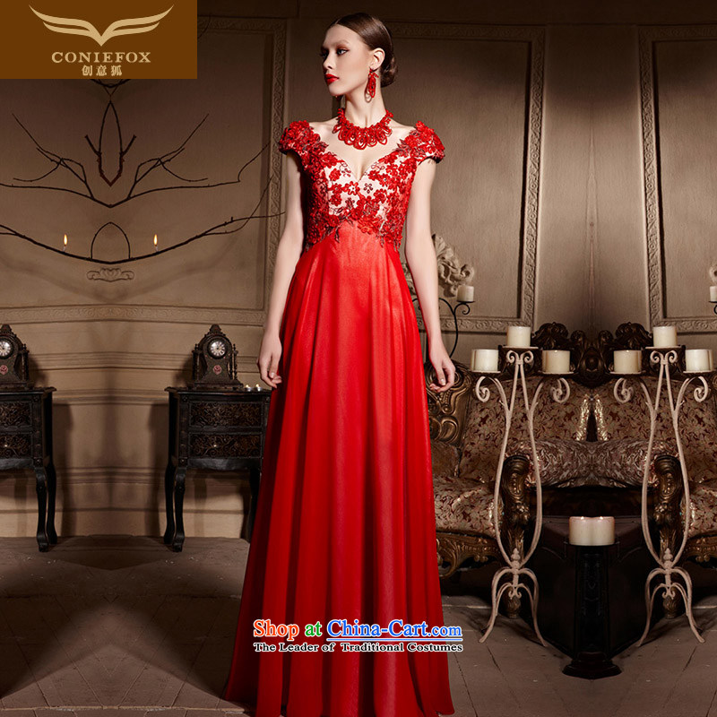 Creative Fox evening dresses red petals bridal dresses and sexy shoulders V-Neck marriage bows services Sau San long to align the wedding dress�30615�RED�M