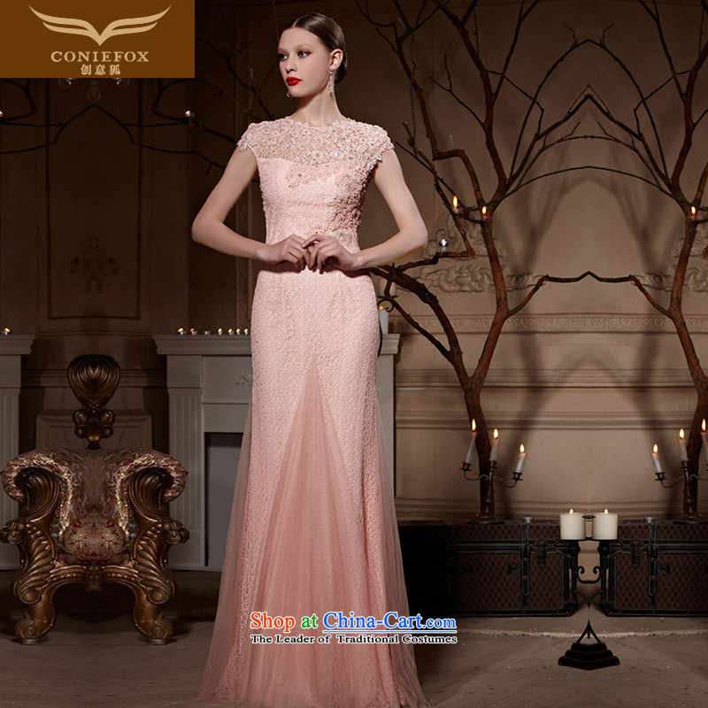 Creative Fox evening dresses?2015 new pink lace bridal dresses marriage bows wedding services bridesmaid hospitality services evening dress 30618 pink?XXL