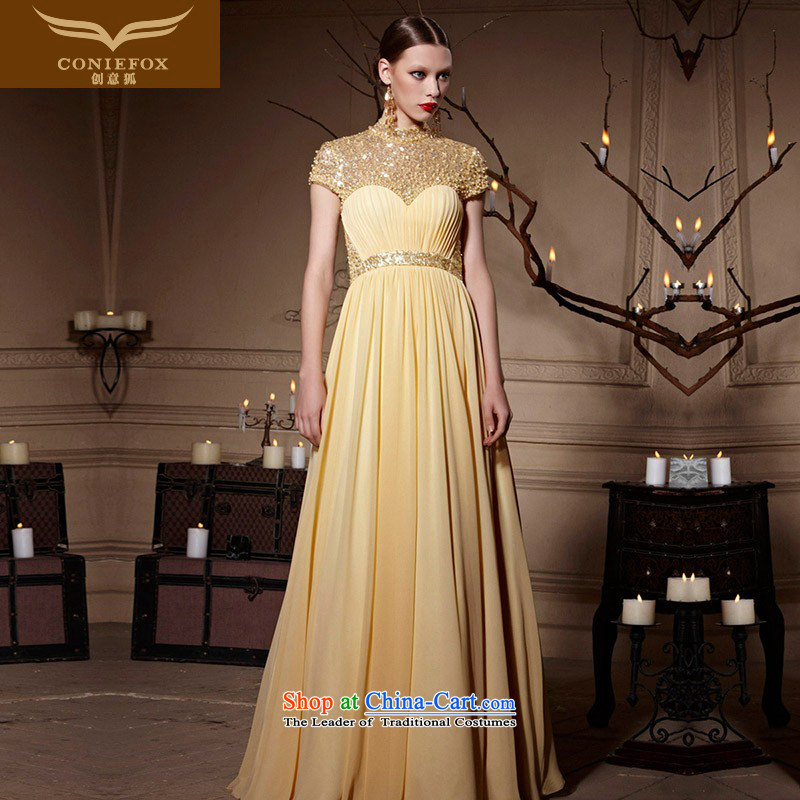 Creative Fox evening dresses gold on chip banquet evening dress_ to Sau San long gown annual meeting presided over a drink service evening dress long skirt 30620 picture color聽XXL