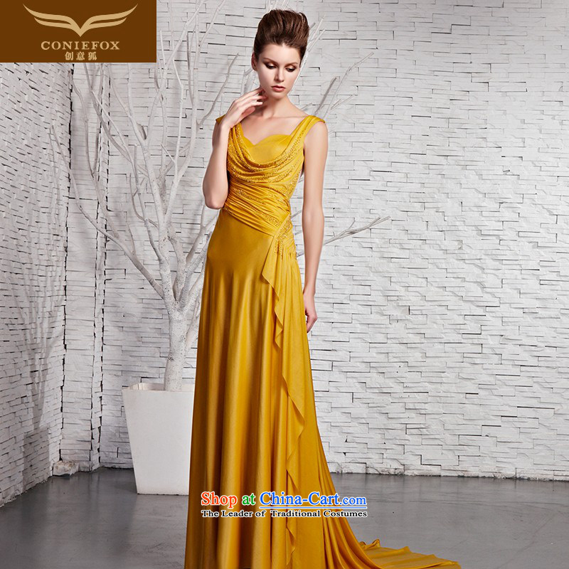 Creative Fox evening dresses classy yellow shoulders stylish evening dresses on banquet drill evening dresses video thin tail long evening dresses 81383 color picture聽M
