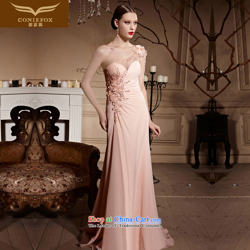 Creative Fox evening dresses pink shoulder bows to the bride marriage bridesmaid elegant wedding dress long courtesy service evening dresses long skirt 30622 pink XXL