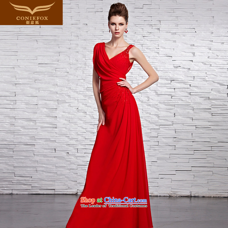 Creative Fox evening dresses?2015 new chic sexy shoulders dress classic long skirt Red Dress Sau San marriages 81519 color photo of serving drink?XL