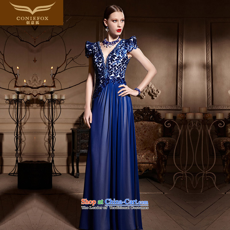Creative Fox evening dress blue etiquette dress�new 2015 V-Neck long gown banquet hosted the annual dinner dress bows dress 30628 Blue�M