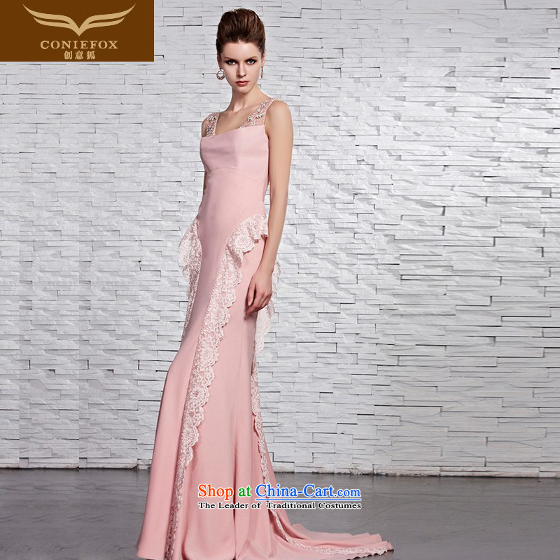Creative Fox evening dresses pink shoulders bride wedding dresses long tail wedding dress romantic wedding dress lace welcome service 81522 color picture XXL